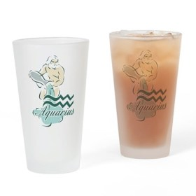 Zodiac Sign Aquarius Symbol Drinking Glass