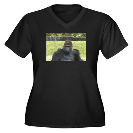 GORILLA MAN Women's Plus Size V-Neck Dark T-Shirt
