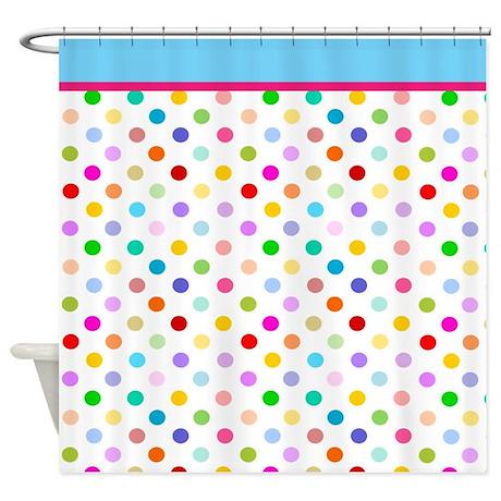 Rainbow Polka Dot Shower Curtain