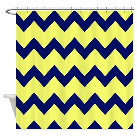 Gt blue bathroom d 233 cor gt yellow navy blue chevrons shower curtain