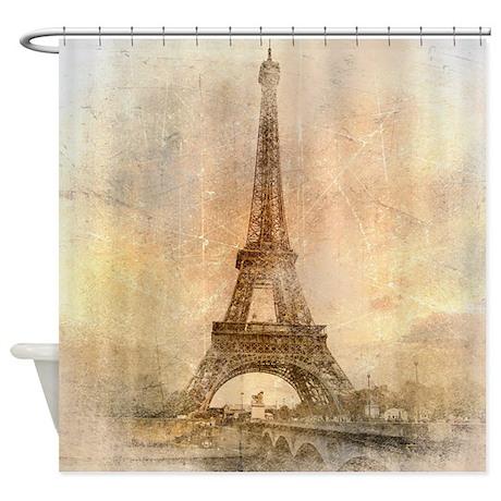 Vintage Eiffel Tower Shower Curtain by BestShowerCurtains