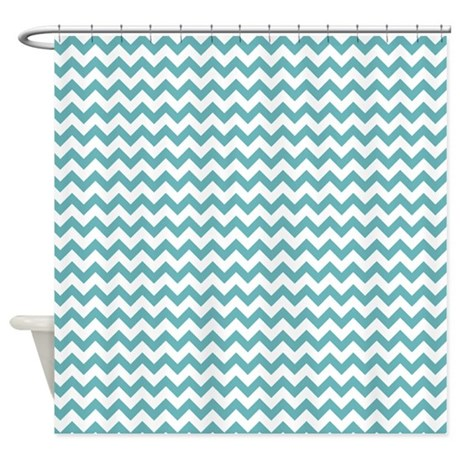 Aqua bathroom d 233 cor gt aqua blue white chevron print shower curtain