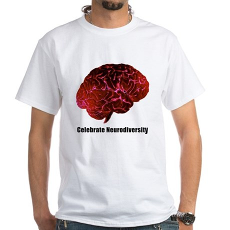 Celebrate Neurodiversity Red White T-Shirt
