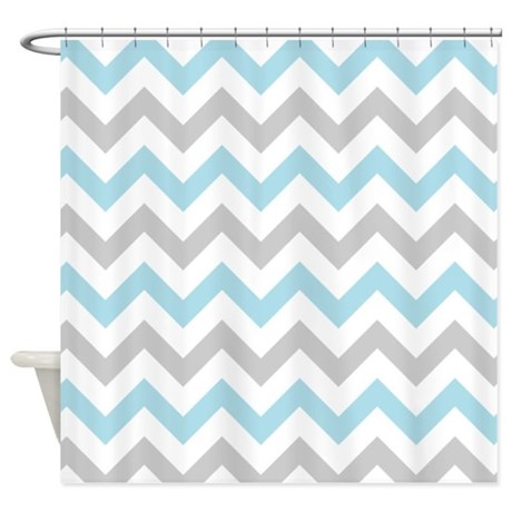 Grey And White Chevron Shower Curtain