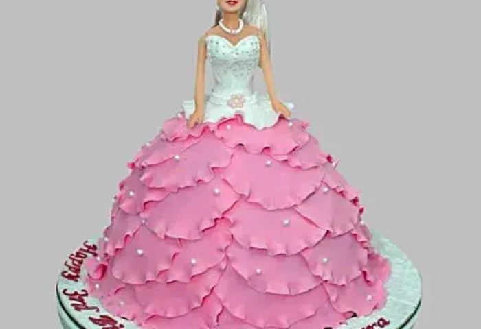 White N Pink Barbie Cake 2kg Eggless Gift Barbie Queen Birthday