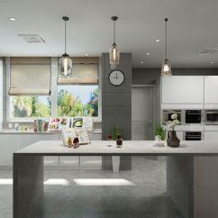Grey Kitchen Island Christmas Rugs 开放式的厨房更显格局 设计师为了衬托灰色的地面 将电器嵌入白色收纳柜