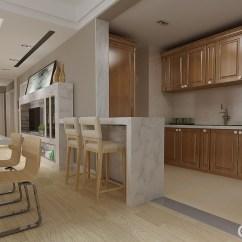 Walnut Cabinets Kitchen Las Vegas Hotel With 厨房以美式胡桃木制成橱柜 上下两层 功能性十足 开放式的格局巧妙地用