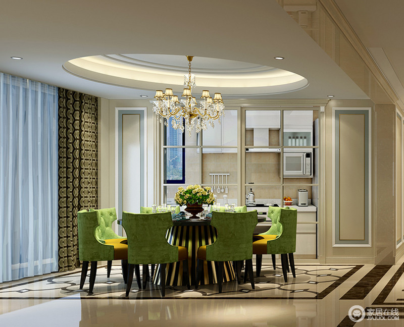 kitchen table legs remodel 墨绿色的餐椅背配姜黄椅面 拼接的质感凸显出优雅时尚感 餐桌黑色台面下 拼接的质感凸显出