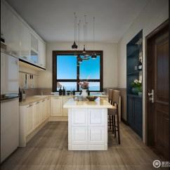 Blue Kitchen Island Furniture Store 厨房结构方正 米色漆粉刷墙面和咖色砖石拼接出恬淡 白色橱柜实用 与蓝 米色漆粉刷墙面和咖色砖石拼接出