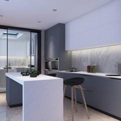 Grey Kitchen Island Valence 厨房线条凝练简单 通过灰色和白色巧妙地过渡 以灰白之色 呈现内敛温和 灰色橱柜在白色悬挂柜的点缀中典雅了不少 而简洁的白色岛台以现代设计表现时尚 动感 更