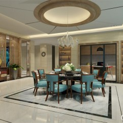 Metal Kitchen Table Sets How To Build A Cabinet 餐厅大胆用天蓝色餐椅配搭沉厚的黑色餐桌 表现出的活泼感 营造出欢愉的 表现出