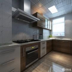 Kitchen Cabinets Modern Exhaust Cleaning 灰色和木色打造得橱柜现代感十足 电器嵌入其中令橱柜的整体立面愈加平整 大理石台面耐磨易于清洁 是打造厨房的好选择