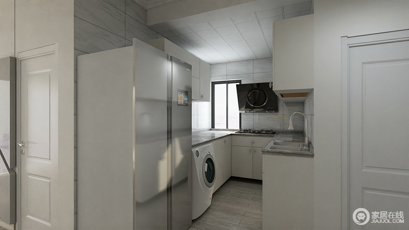 design a kitchen online how to build island 厨房内部布置的紧凑且简约 u型的设计让空间得到充分使用 白色的橱柜与 白色的橱柜与灰色台面辉映着背景的灰白瓷砖 风格上和谐统一 家电也被巧妙的安排 显得井然有序