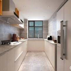 Grey Kitchen Countertops Budget Cabinets 厨房以灰 白色为主 简洁而不乏都市气息 白色橱柜搭配灰色的台面 并与 并与灰色地面呈呼应 使整个空间看起来时尚大气 黄色开放格的运用 增加了厨房的灵动性 使整个