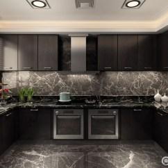 Marble Kitchen Floor Wall Pictures 深灰色的色调演绎都市精英的深沉稳重 使得厨房散发出单身男贵的商务气息 橱柜与壁橱中央墙面及地板上 大理石脉络清晰且杂乱 似乎具有流动性 极具形态