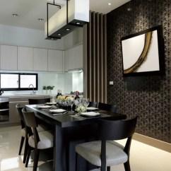 Black Kitchen Table And Chairs Commercial Cleaning Services 餐厅与开放式厨房形成互动 深浅色系的搭配 使空间表现出丰富的层次性 印花背景墙铺陈出低调的浪漫与沉郁的黑色餐桌椅 形成一种默契的时尚深邃感