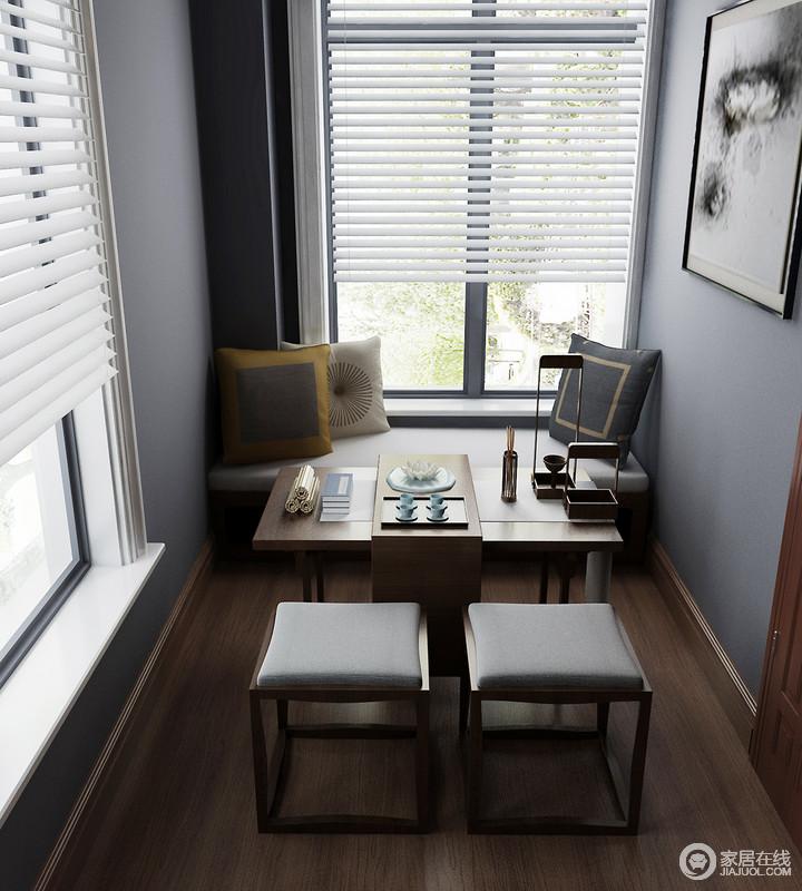 grey kitchen blinds pass through window 书房以灰蓝色漆粉刷墙面,与白色百叶窗构成现代优雅;微型榻榻米上黄色、灰色和白色靠垫裹挟出些许温馨,造型简洁而精致的 ...