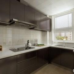 Kitchen Black Cabinets Stone Countertops 厨房以釉亮的黑色烤漆板制造橱柜 巧妙地设计让整体布局简洁而不失大气 巧妙地设计让整体