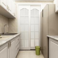Design A Kitchen Online Hood For 厨房双一字行的橱柜设计 加大橱柜作台面 同时容纳了双开门冰箱 橱柜 橱柜采用有造型设计 体现欧式风格的大气 同时也更具利落