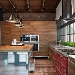 Metal Kitchen Island Tuscan Wall Clocks 木质橱柜将家电产品内置 木质岛台和间或红色金属高脚凳 银色铁质岛柜 银色铁质岛柜混合在一起 多了材质地细腻和刚硬 艺术气息也在材质的变换和组合中呈现出来