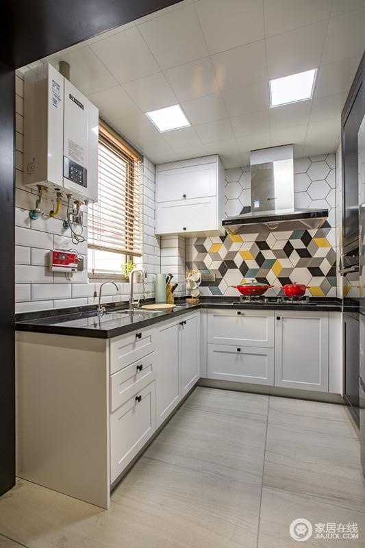 kitchen wall art showrooms ma 厨房北欧的怡情映入眼帘 墙面菱形砖块的组合堆砌 就像创作艺术品一样 就像创作艺术品一样可以在厨房里创造美食