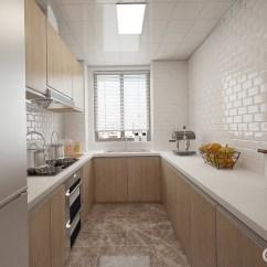Kitchen Wood Countertops Tall Narrow Cabinet 厨房以u型设计 丰富的橱柜带来强收纳功能 将厨具隐藏于橱柜内 释放出 释放出清爽台面 白色的台面与文化砖背景墙呼应 搭配木色柜面 中和了生冷的色系 带来温馨简洁的