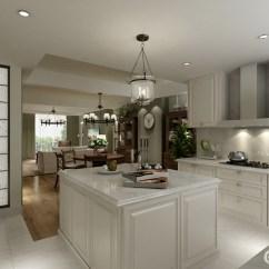 Design A Kitchen Online Farmers Sink 厨房以白色为主 从橱柜到岛台展示了极大地收纳哲学 白色调的设计让整个 白色调的设计让整个厨房都显得干净 餐厅并没有占用太多的空间 位于厨房之外 更是方便就餐