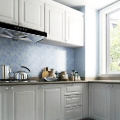 Kitchen Step Making A Island From Cabinets 厨房洗切炒规划一步到位 三抽有序排放 随时拿取 再也不用烦恼不顺手 白色珍珠木纹理与蓝色西班牙壁纸纹理瓷砖结合 让热火朝天的厨房注入了缕缕清凉之意
