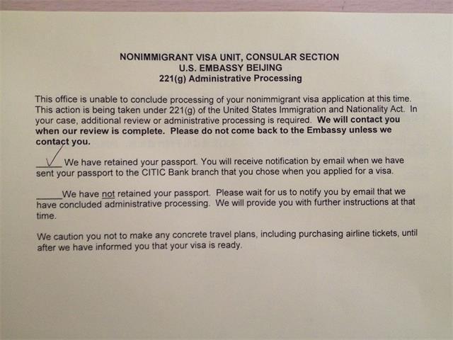 辦理美國簽證環節的特殊存在——221g - 每日頭條