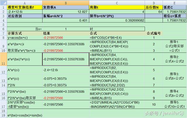 Excel數據分析——用歐拉公式簡化傅立葉變換結果 - 每日頭條