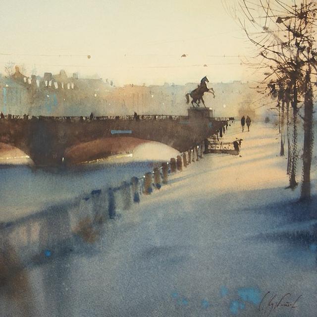 俄羅斯水彩畫家的速寫型風景畫。畫得那麼奔放。居然畫得這麼好 - 每日頭條