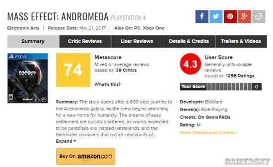 《質量效應:仙女座》玩家評價慘不忍睹 只有4.3分 - 每日頭條