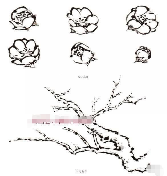 寫意梅花畫法示範教程。梅花的樹幹和根部畫法。畫梅花的構圖形式 - 每日頭條