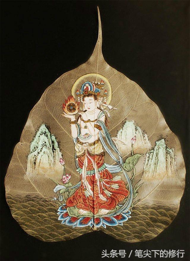 綠色佛畫藝術(1)菩提葉畫聖像圖 - 每日頭條