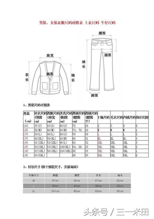 衣服的尺寸怎麼換算 - 每日頭條