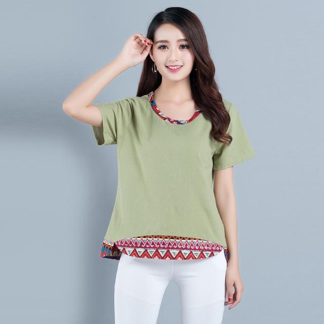 2017夏裝民族風寬鬆大碼顯瘦拼接短款女裝上衣棉麻短袖T恤女 - 每日頭條