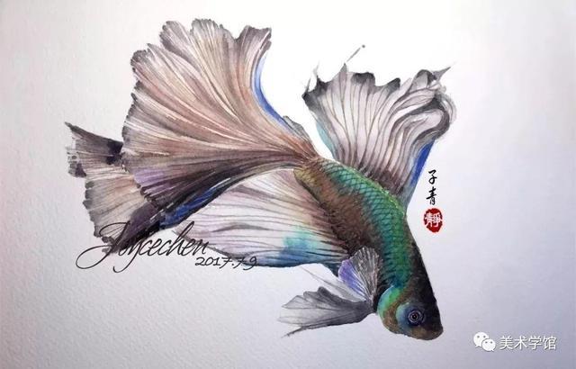 她5歲學畫。30歲重拾夢想。喜歡畫魚。作品還沒畫完就被藏家預定 - 每日頭條