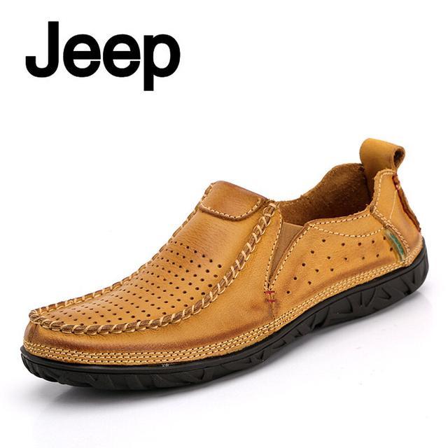 新款Jeep吉普皮鞋男春夏季真皮透氣時尚牛皮休閒男鞋網鞋洞洞 - 每日頭條