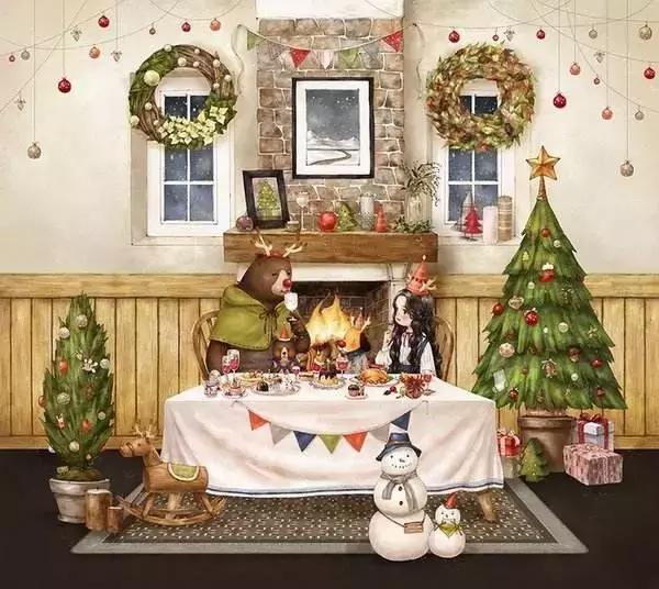 治癒插圖分享:暖心森林女孩陪你過聖誕 - 每日頭條