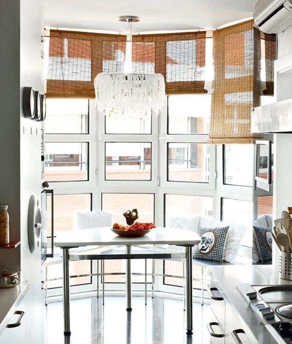 small kitchen table set custom cabinet doors 廚房裡的小餐桌 空間小廚房餐廳就合二為一了 每日頭條 長方形廚房盡頭出乎意料地是圓弧形的飄窗 在這裡安排一張半圓形的小餐桌 享受早餐再愜意不過了 半圓形小餐桌不占空間 它順應了窗戶的造型 又能為廚房留出足夠的