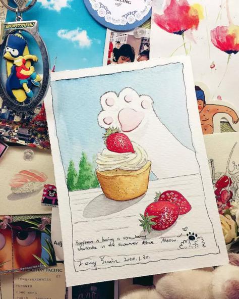 超簡單的草莓蛋糕水彩畫法。趕快學起來~ - 每日頭條