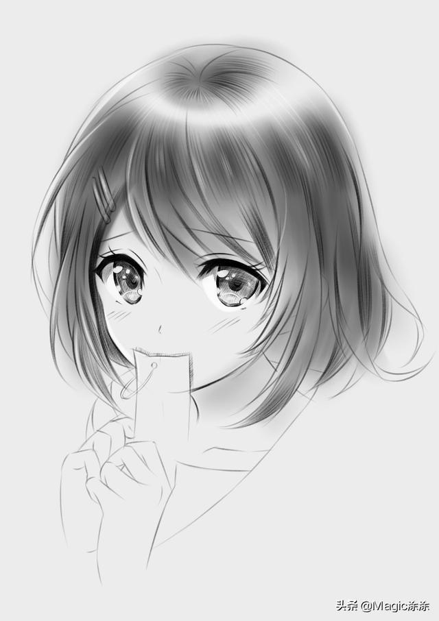 手繪教學:唯美動漫短髮女孩 素描風格效果超贊 - 每日頭條