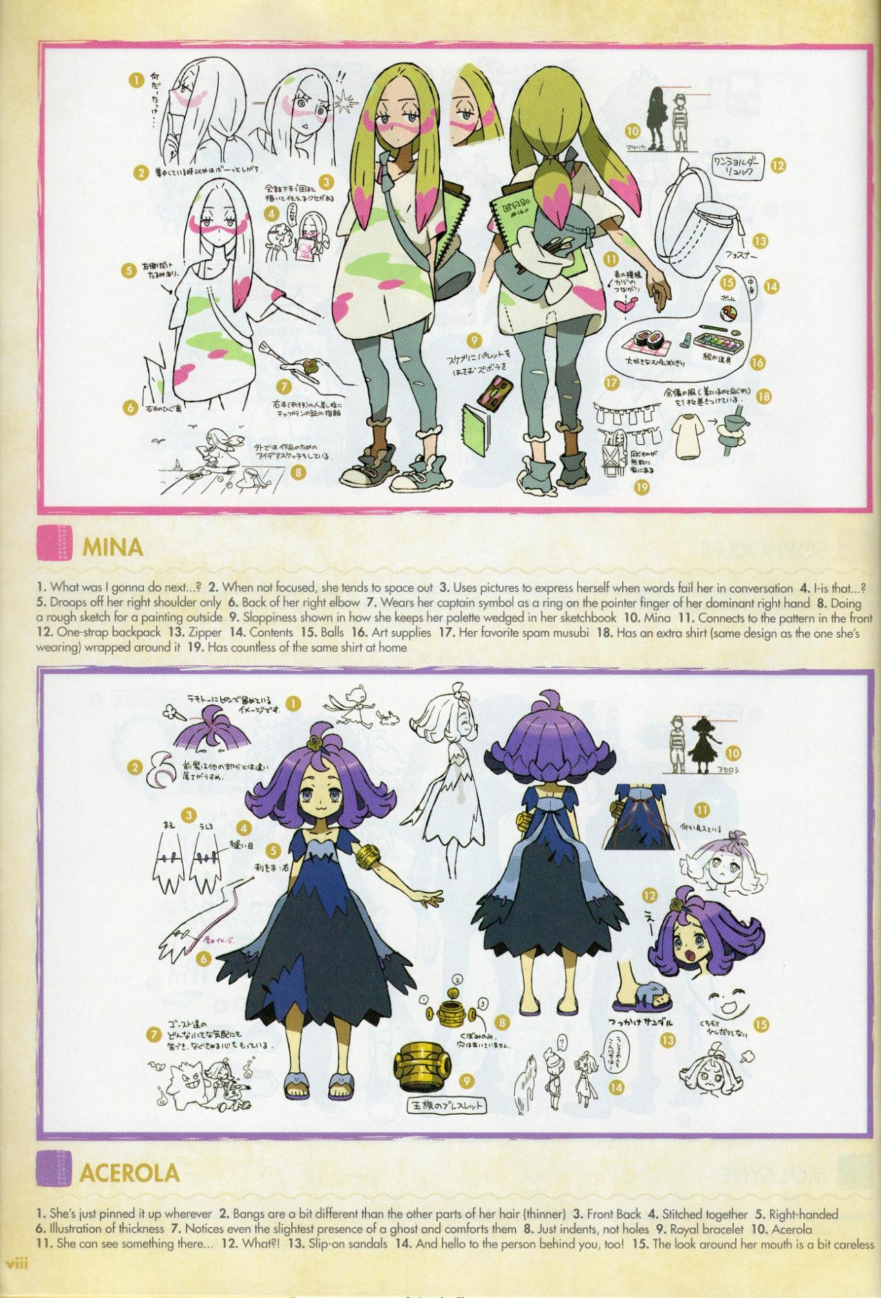 Mina and Acerola concept art  Pokmon Sun and Moon  Know