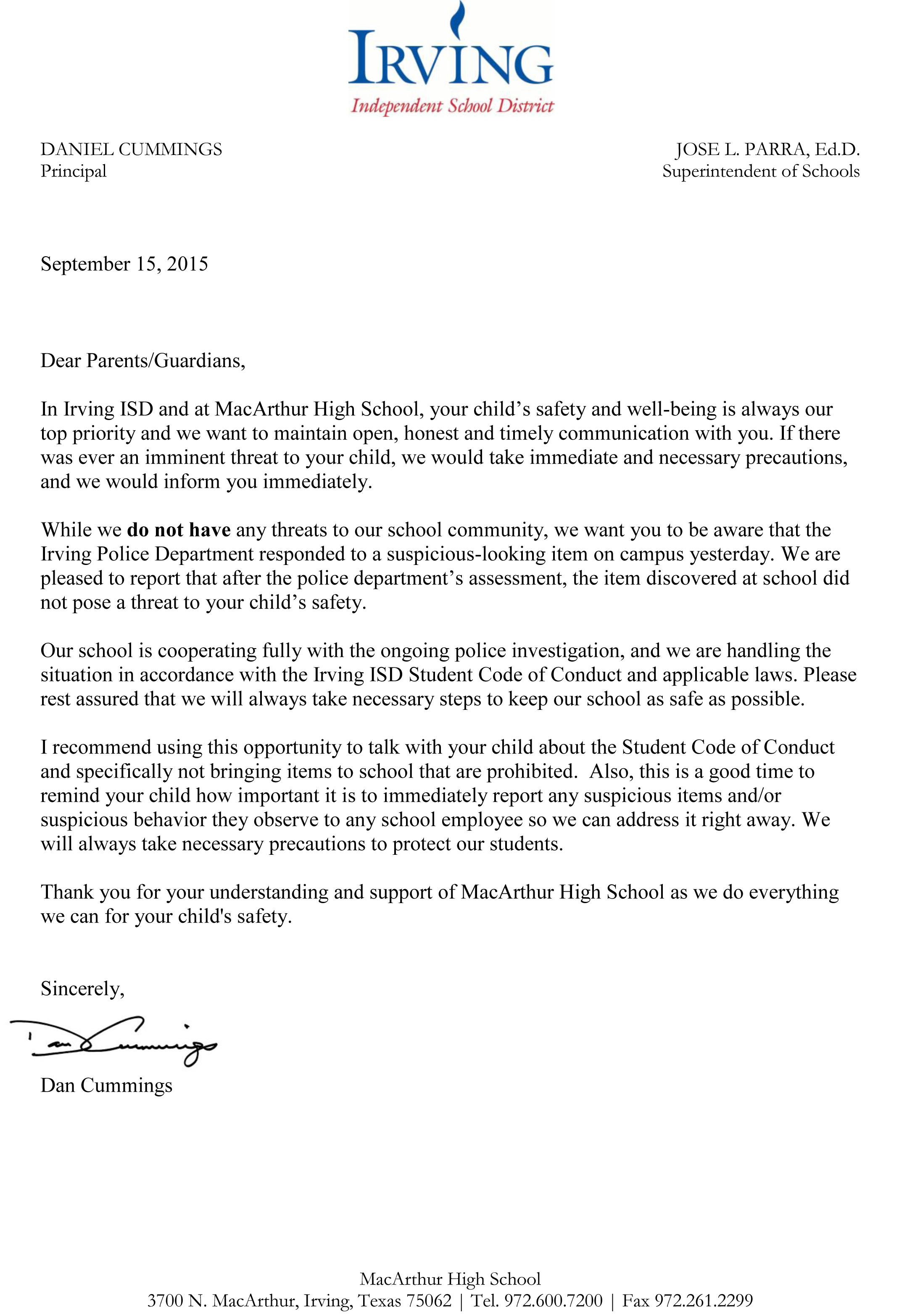 MacArthur High School Principal's Letter To Parents