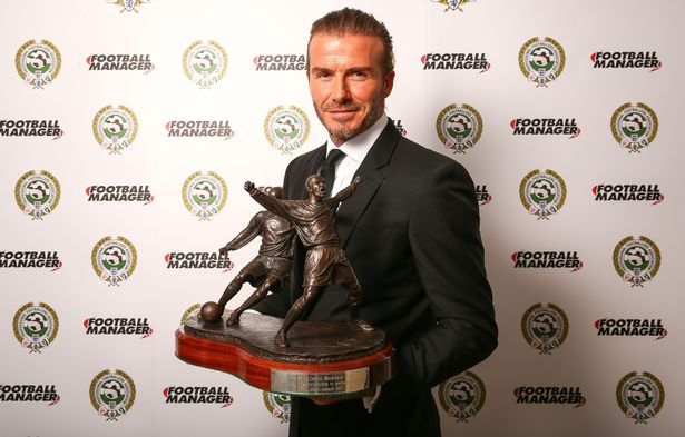 David Beckham OBE who has won the PFA award for Outstanding Contribution to Football