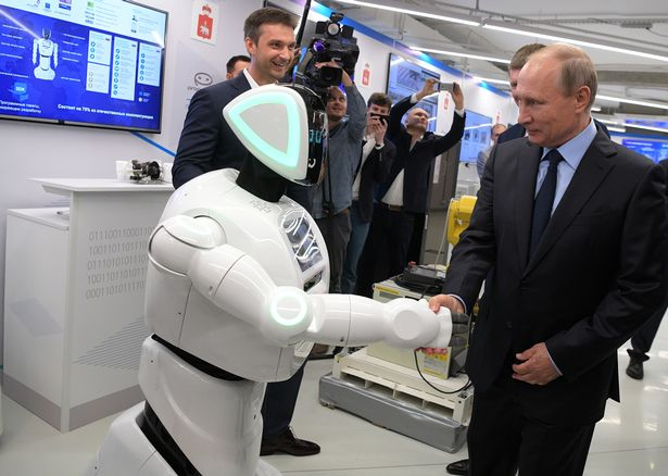 The big-eyed, Russian-made machine is said to have immediately recognised Putin and enthusiastically introduced himself
