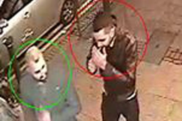 Appeal: Suspect circled in red and a potential witness circled in green