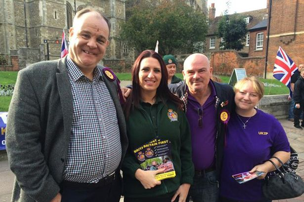 UKIP ACTIVISTS POSE WITH BRITAIN FIRST CANDIDATE JAYDA FRANSEN