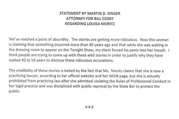 Billy Cosby lawyer statement