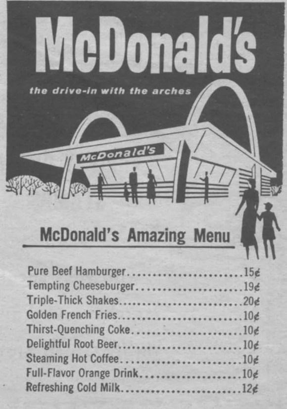 1950s US McDonalds menu